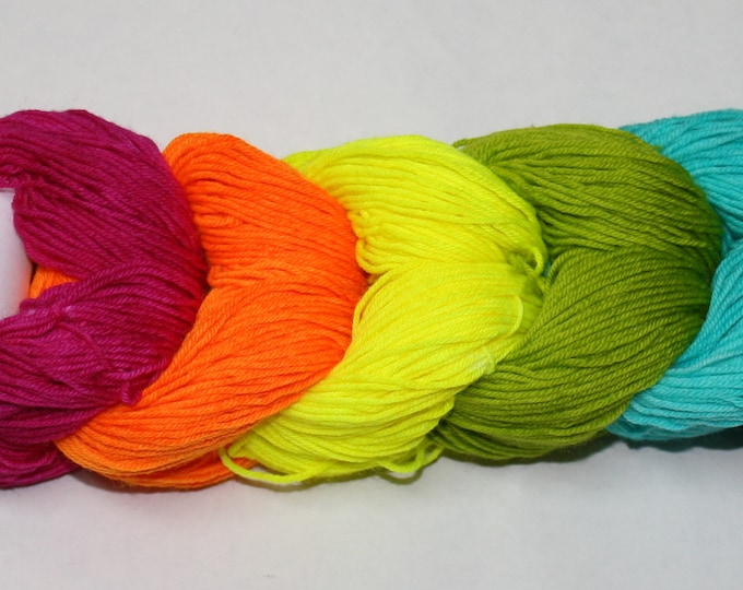 Dyed to Order - Highlighters Plus Black Mini Skein Set - Tough Sock