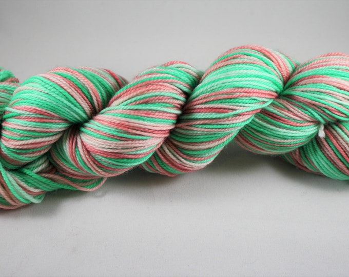 In Peach Mint Self Striping Hand Dyed Sock Yarn