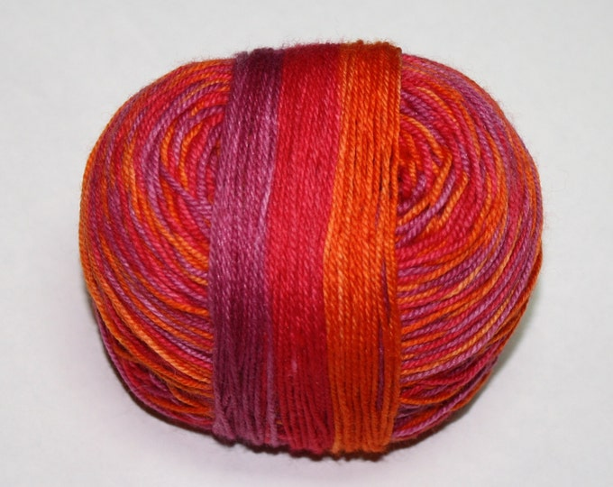 Autumn Sunrise Self Striping Hand Dyed Sock Yarn