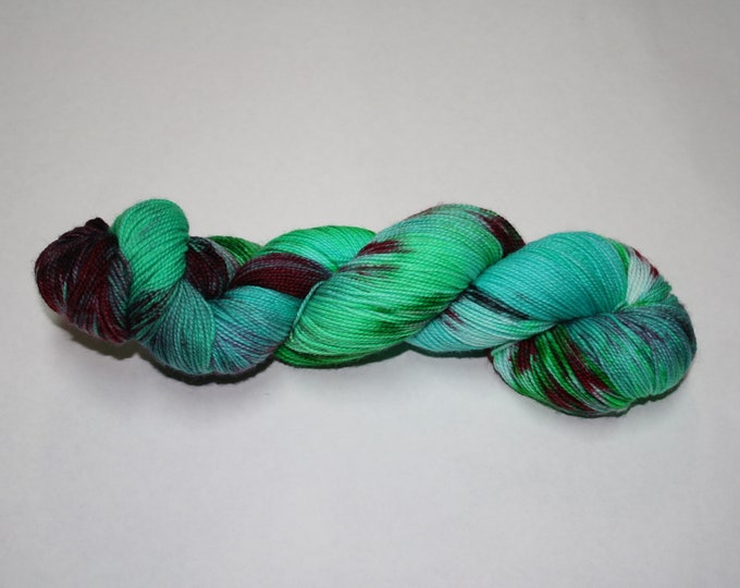 Ready to Ship - Naughty or Nice Hand Dyed Sock Yarn - Sport Sock