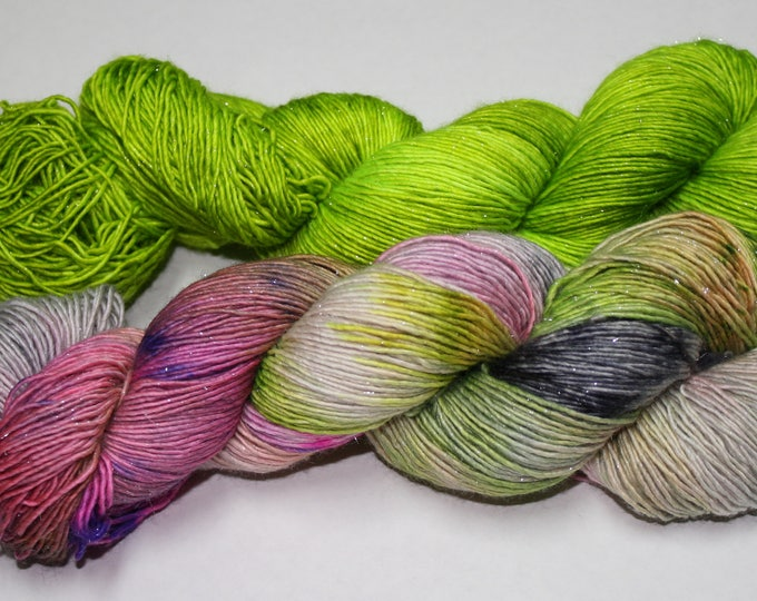 Dyed to Order - Witch's Brew and Ghoul Hand Dyed Yarn Shawl Set