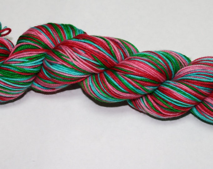 Christmas In Whoville Self Striping Hand Dyed Sock Yarn