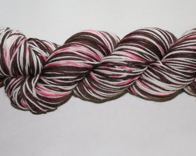 Peppermint Bark Self Striping Hand Dyed Sock Yarn