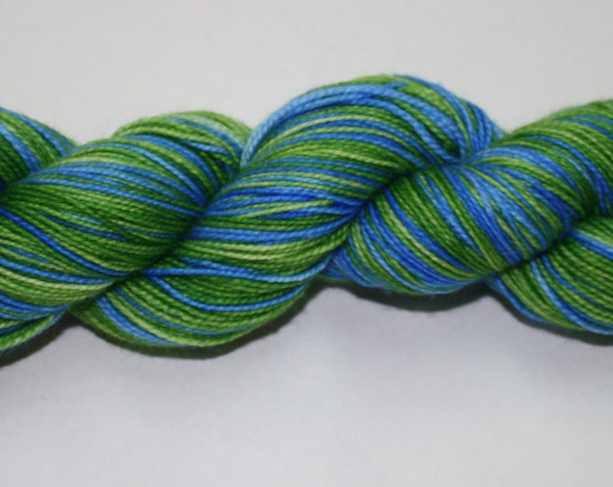 Ready to Ship - Green Grass and Blue Skies Self Striping Hand Dyed Sock Yarn - Tough Sock