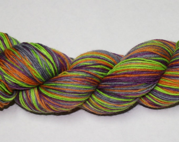 Ready to Ship - This is Halloween Self Striping Hand Dyed Sock Yarn - Tough Sock