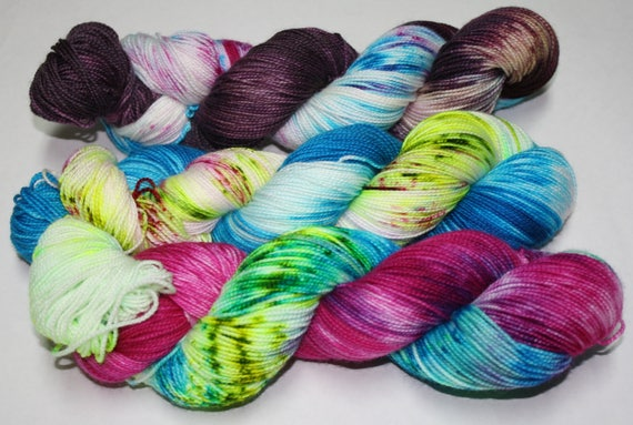 Dyed to Order - Tempest, Oasis, and I am the Storm Hand Dyed Yarn Shawl Set