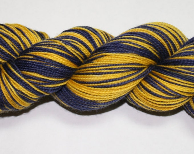 Ready to Ship - Navy and Maize Self Striping Hand Dyed Sock Yarn