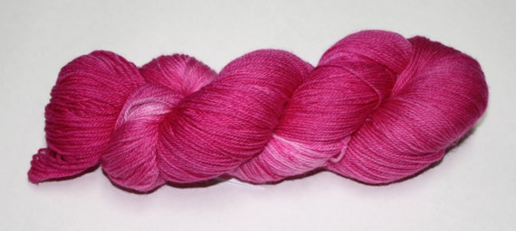 Ready to Ship - Hot Pink Hand Dyed Sock Yarn - Superwash Worsted