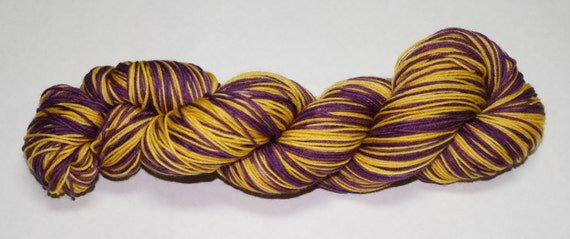 Purple and Gold Self Striping Hand Dyed Sock Yarn
