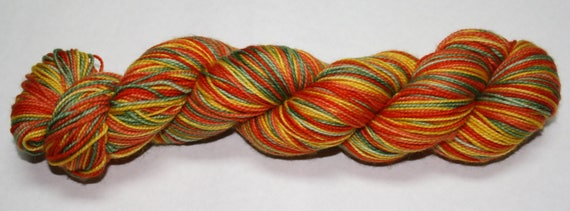 Ready to Ship - Great Pumpkin Self Striping Hand Dyed Sock Yarn - Sport Sock