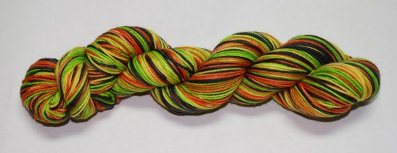 Ready to Ship - Scare Your Socks Off Self Striping Hand Dyed Sock Yarn - Twist Sock