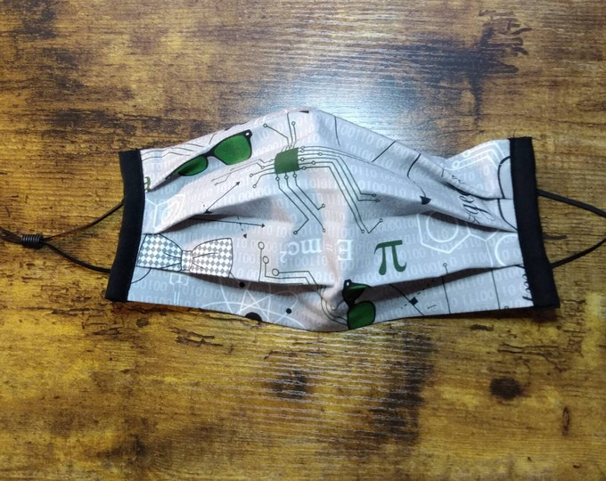 Geeky Circuits Face Mask with Filter Pocket, Elastic, and Nose Wire