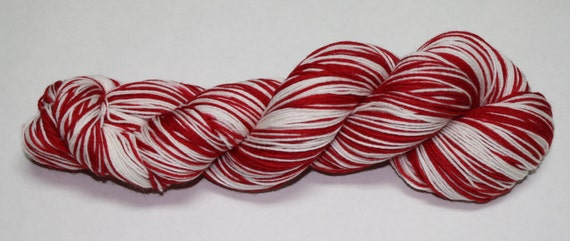 Crimson and White Self Striping Hand Dyed Sock Yarn