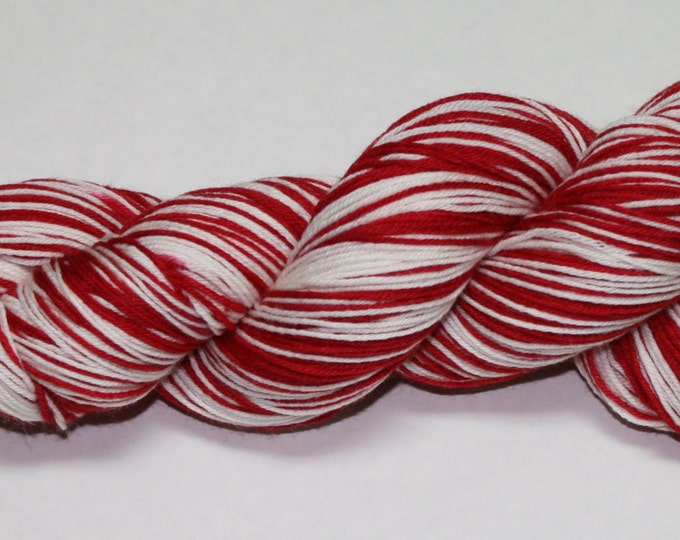 Dyed to Order - Crimson and White Self Striping Hand Dyed Sock Yarn