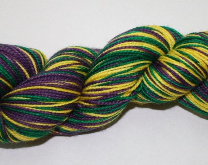 Dyed to Order - Mardi Gras Self Striping Hand Dyed Sock Yarn