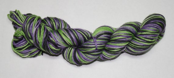 Beetlejuice Self Striping Hand Dyed Sock Yarn
