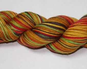 Ready to Ship - Cheeseburger Self Stirping Hand Dyed Sock Yarn - Sport Sock