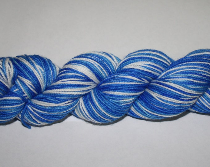 Ready to Ship - Hanukkah Self - Striping Hand Dyed Sock Yarn