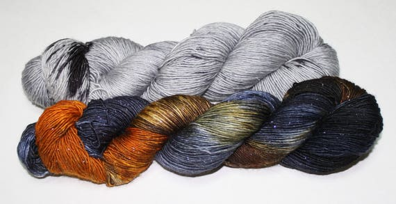 Dyed to Order - Fantastic Beasts and Hippogriff Hand Dyed Yarn Shawl Set