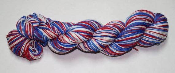 Patriotic Self Striping Hand Dyed Sock Yarn