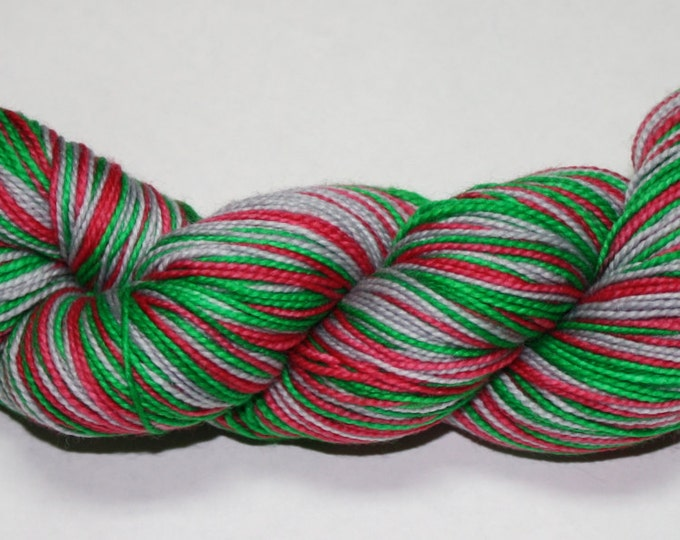 Dyed to Order - Jingle Bells Self Striping Hand Dyed Sock Yarn