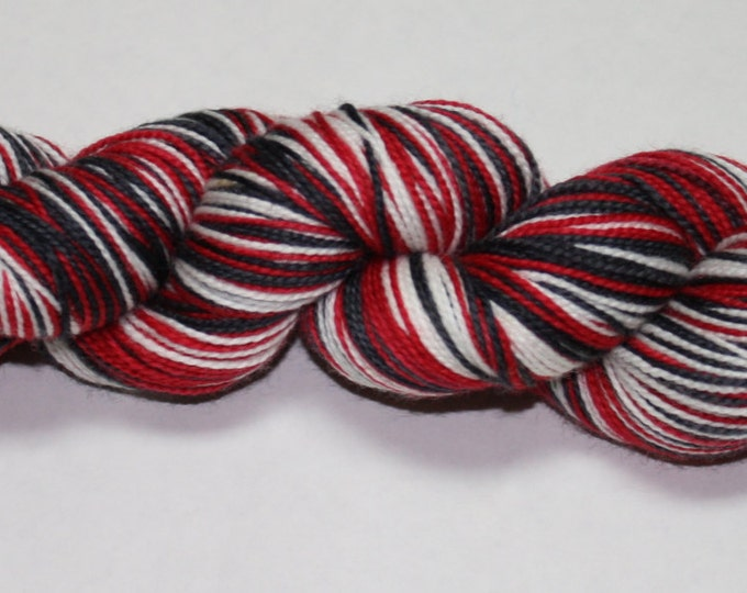 Dyed to Order - Santa's Suit Self Stirping Hand Dyed Sock Yarn