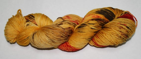 Ready to Ship - Dragonfly In Amber Hand Dyed Sock Yarn - Bulky Merino