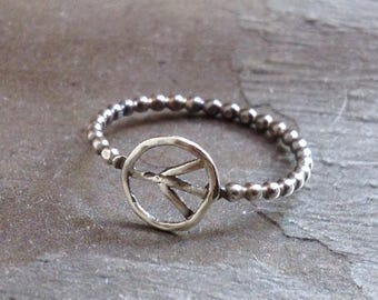 Peace Ring - Sterling Silver Ring - Minimalist Boho Ring - Silver Bead Band - Everyday Ring - Metalwork Ring