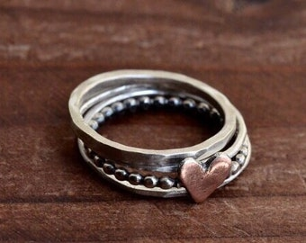 Heart Ring - Copper Silver Ring - Stackable Ring - Stacking Ring - Sterling Silver Ring - Two Tone Ring - Boho Rustic Heart Ring