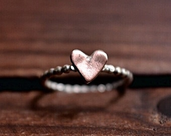 Heart Ring - Copper Silver Ring - Minimalist Heart Ring - Silver Bead Band Ring - Boho Rustic Heart Ring - Sterling Silver Ring