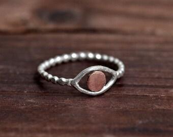 Evil Eye Ring - Silver Copper Ring - Mixed Metal Ring - Two Tone Ring - Silver Bead Band - Sterling Silver Ring - Minimalist Boho Ring
