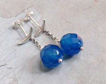 Blue Chalcedony Earrings - Crescent Moon Earrings - Sterling Silver Silver Post Earrings - Metalwork Earrings - Dangle Post Earrings