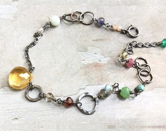 Citrine Bracelet - Oxidized Sterling Silver Link Bracelet - Multi Color Bracelet - Dainty Bracelet - Mixed Stone Bracelet -Colorful Bracelet