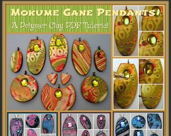 Mokume Gane Pendants and Earrings,  A Polymer Clay PDF Tutorial, DIY Jewelry