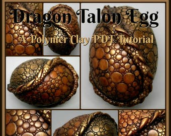 Dragon Talon Egg,  A Polymer Clay PDF Tutorial, Decorated Egg Paperweight, Fantasy Decor