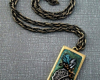 Super SALE! Handmade Necklace Forest Leaves Polymer clay Pendant