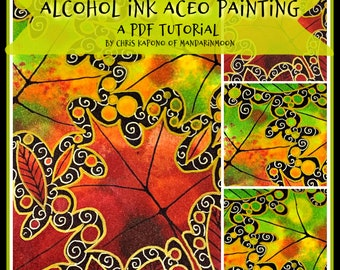 Painting with Alcohol Ink, A Maple Leaf ACEO, PDF Tutorial, Handmade Cards, Diy