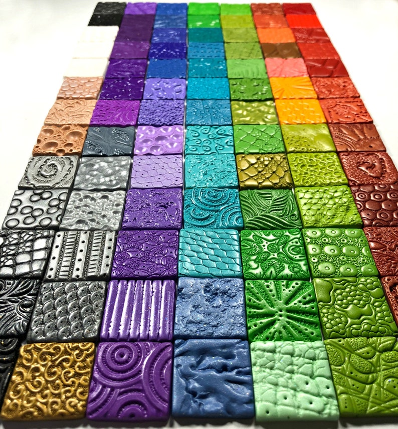 Tiny Textured Tiles, Surface Texture Ideas, A Polymer Clay PDF Tutorial,  Inchie Tiles