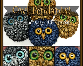 Tutorial, Adorable Owl Pendant,  A Polymer Clay PDF Tutorial, DIY Jewelry, How To Make Beautiful Wearable Art