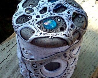 Lidded Jar Vase Polymer Clay and Glass Granite Moonscape