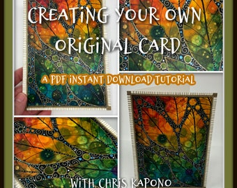Art Card, DIY Greeting Card, Painting with Alcohol Ink, Beautiful Handmade Card, PDF Tutorial, Hand Painted Cards, Cards as Gifts