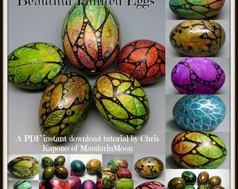 Beautiful Painted Eggs,  A PDF Tutorial, Egg Art, DIY
