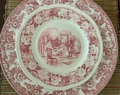 Cranberry Red Transferware Choice of Spode Delamere Platter Chop Plate, Vintage Homer Laughlin and or Woods Burslem Luncheon Salad Plates