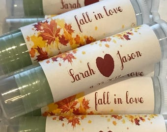 Fall wedding favor etsy fall in love wedding favors fall wedding favors wedding favor lip balms personalized junglespirit Image collections