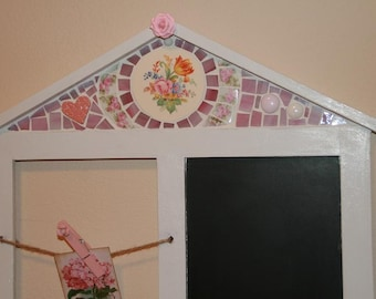 Shabby Chic Chalk Board Wall Hanging with Mosaic Vintage China