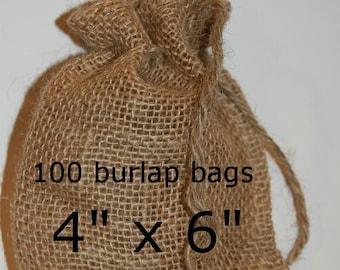 Burlap Bags Wedding Burlap Favor Bags  Rustic Wedding 100 Burlap Bags 4x6