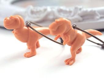 T-rex Tyrannosaurus dinosaur earrings brass hoops cute kawaii harajuku jewelry