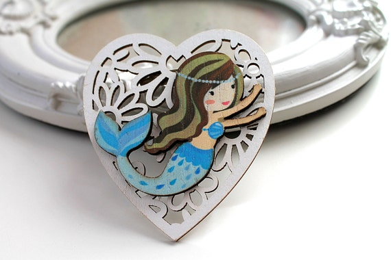 Little mermaid  wooden brooch kawaii sweet lolita egl white blue