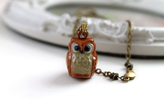 Little owl necklace night moon and stars bow kawaii