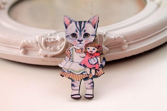 Cat Girl wooden brooch kawaii sweet lolita girl doll tabby